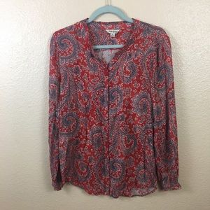 Lucky Brand red paisley blouse sz M